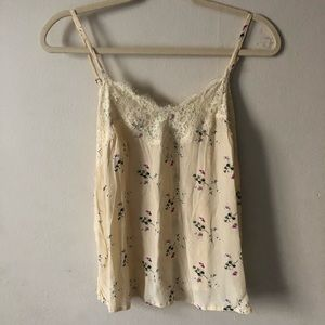 Abercrombie & Fitch Yellow Floral Lace Cami S